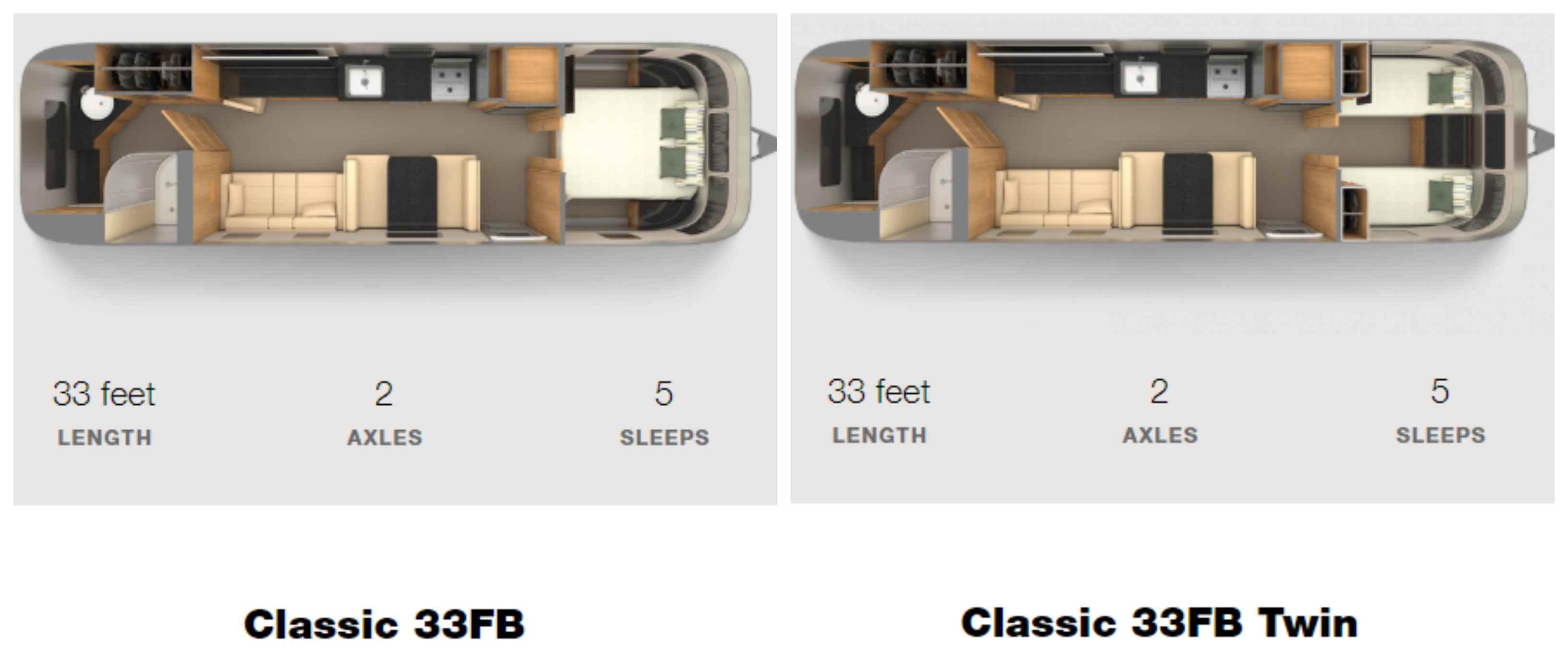 Airstream Classic 33FB floorplan